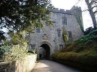 Dunster Castle - The 14th-century Great Gatehouse; when first built, the Lower Ward on the right would have been at the same height as the gateway