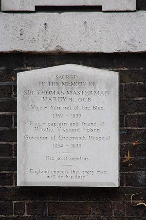 Sir Thomas Hardy, 1st Baronet - The grave of Sir Thomas Masterman Hardy, Greenwich Hospital Cemetery, London (telephoto)