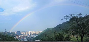 The urban area of Yuhuan and the Rainbow above.jpg