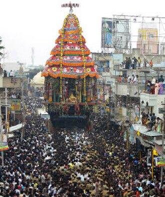 Annamalaiyar Temple - Temple car procession during a festival