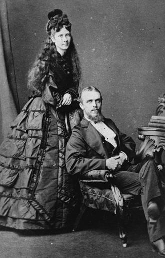 Thomas Bridson Cribb - Thomas Bridson Cribb and Marion Lucy née Foote on their wedding day, 3 June 1874. The bride appears to be in mourning clothes, probably for the death of Benjamin Cribb (Thomas's father) who died in March 1874.