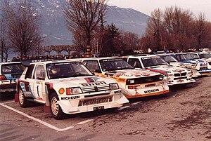 1986 World Rally Championship - Peugeot 205 T16 E2, Audi Quattro S1 and Lancia Delta S4 in Monte Carlo
