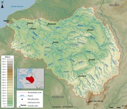 La akvokolekta areo de la rivero Sejno
