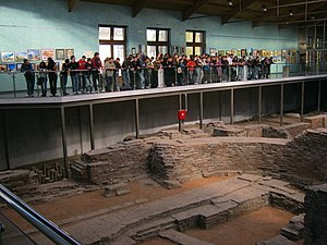 Roman Emperors Route - Image: Tourists in Emperors Palace, Sirmium