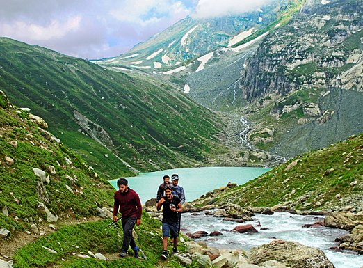 Group trekking away from Gangbal Lake