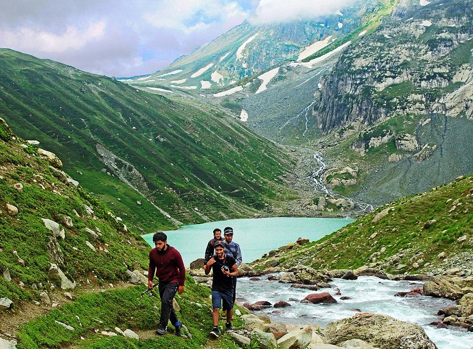 Group trekking away from Gangbal Lake
