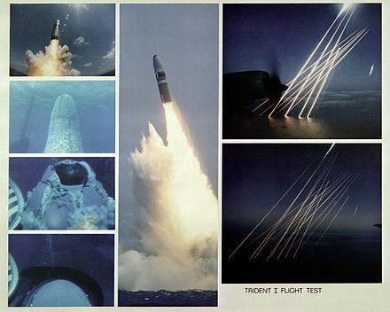 Montage of an inert test of a United States Trident SLBM (submarine launched ballistic missile), from submerged to the terminal, or re-entry phase, of the multiple independently targetable reentry vehicles Trident C-4 montage.jpg