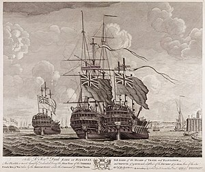 Second Battle of Cape Finisterre (1747) - Three of the six French vessels captured at the Battle of Cape Finisterre; Terrible, Neptune and Severn