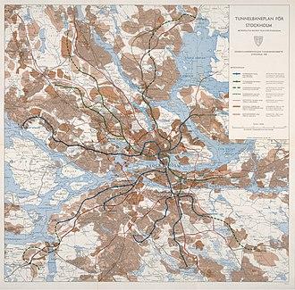 Stockholm metro - Tunnelbaneplan för Stockholm 1965