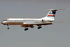 LOT Polish Airlines - A LOT Tupolev Tu-134 on approach to Frankfurt in 1974