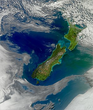 Roaring Forties - The Roaring Forties in the Cook Strait of New Zealand produce high waves, and they erode the shore as shown in this image.