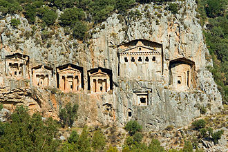 Dalyan - Lycian tombs near Dalyan across the Dalyan river