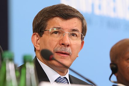 Davutoglu at the London conference on Somalia in 2013 Turkish Minister of Foreign Affairs (8718467242).jpg