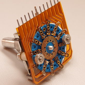 Rotary switch - Bottom view of a 12-position rotary switch showing wiper and contacts.