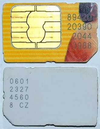 Mobile phone - Typical mobile phone mini-SIM card.