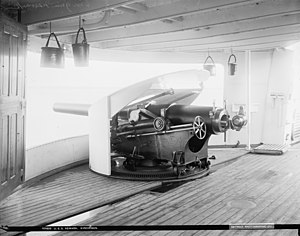 USS Newark (C-1) - 6-inch gun on USS Newark