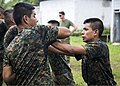 U.S. Marines assigned to a landing attack subsequent operations team conduct a combat conditioning exchange with Guatemalan marines as part of U.S. Marine Corps Martial Arts Program training during Southern 140819-N-XQ474-152.jpg
