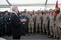 U.S. Secretary of the Navy Ray Maybus speaks to U.S. Marines and Sailors, with Security Cooperation Task Force Africa Partnership Station 2012 (SCTF APS-12), aboard the dock-landing ship USS Fort McHenry (LSD 120831-M-FG262-001.jpg