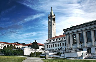 University of California, Berkeley - View from Memorial Glade of Sather Tower (The Campanile), the center of Berkeley—the ring of its bells and clock can be heard from all over campus
