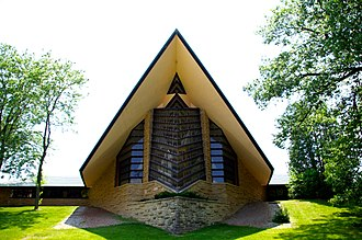 Unitarian Universalism - The Unitarian Meeting House designed by Frank Lloyd Wright, Shorewood Hills, Wisconsin.