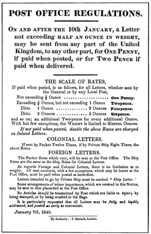 Royal Mail Post Office Regulations handbill giving details of the Uniform Penny Post, dated January 7, 1840 UPP POreg handbill 1840jan7.png