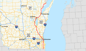 U.S. Route 41 in Wisconsin - Image: US 41 (WI) map