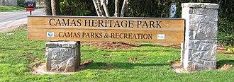 Camas, Washington - Image: US WA Camas heritage park main sign tar