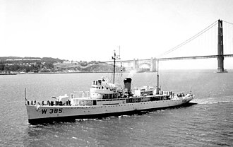 USS Biscayne - USCGC Dexter (WAVP-385) arriving in San Francisco Bay on 11 August 1958 en route her new home port at Alameda, California.