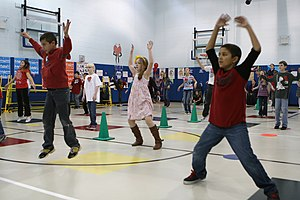 Jumping jack - Schoolchildren in the US performing jumping jacks