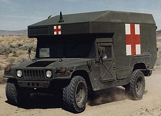 Humvee - A U.S. military M997 ambulance, emblazoned with the Red Cross.