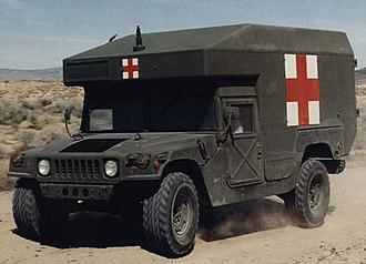 Humvee - A U.S. military M997 ambulance, emblazoned with the Red Cross.