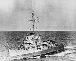 USS Ahrens (DE-575) underway in the Atlantic Ocean on 13 May 1944 (80-G-266487)