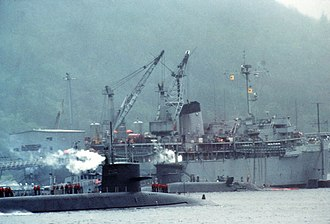 USS Hunley (AS-31) - USS Hunley servicing SSBNs at Holy Loch, Scotland (UK), 1981.