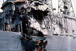 USS Stark (FFG-31) - A view of external damage to the port side.