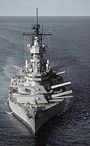 USS Wisconsin (BB-64) prepares to fire her 16 inch (406 mm) guns sometime after her 1986 modernization