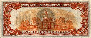 Reverse of the Series 1934 $100 Gold Certificate