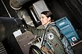 US Female F-16 Fighter Pilot Capt Janelle Baron does walk-around inspection before she takes off to skies above South Korea at Osan Air Force Base.jpg