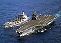 US Navy 030516-N-6259P-003 The USS Enterprise (CVN 65) steams alongside the Military Sealift Command Fast Combat Support Ship USNS Leroy Grumman (AOE 195) during an underway replenishment (UNREP).jpg