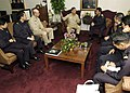 US Navy 050125-N-1229B-007 Rear Adm. Sasaki and his staff from the Japanese Maritime Self Defense Force talk with Commander Carrier Strike Group Nine (CSG-9), Rear Adm. Douglas Crowder and Capt. Kendall L. Card about the joint.jpg