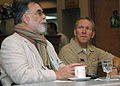US Navy 061121-N-4044H-002 Naval Support Activity (NSA) Naples Commanding Officer Capt. Floyd Hehe listens to film director Francis Ford Coppola describe the experience of making the internationally recognized films of the Godf.jpg