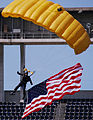 US Navy 070308-N-4163T-360 A member of the U.S. Navy Parachute Demonstration Team Leap Frogs descends into San Diego's Qualcomm Stadium with the American flag during a training session.jpg