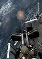 US Navy 080209-N-5067K-299 A gunner stationed aboard the amphibious transport dock ship USS Juneau (LPD 10) fires a twin 50-caliber machine-gun during a live fire training exercise.jpg