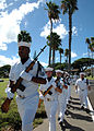 US Navy 080819-N-7974M-007 Honor guard detail march to perform a rifle salute during a scattering of ashes ceremony for 89-year-old Pearl Harbor survivor Major Wheeler, who was aboard the minesweeper USS Widgeon (AM 22) during.jpg