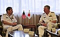 US Navy 090703-N-8273J-247 Chief of Naval Operations (CNO) Adm. Gary Roughead, right, meets with Japan Maritime Self-Defense Force Chief of Staff Adm. Keiji Akahoshi during a visit to Ichigaya in Tokyo.jpg