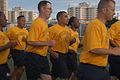 US Navy 090807-N-5019M-001 Chief petty officer selectees run in formation during an early morning fitness session at Fleet Activities Yokosuka, Japan.jpg