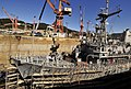 US Navy 100126-N-0807W-014 The mine countermeasures ship USS Guardian (MCM 5) moors in dry-dock at SSK Shipyard in Sasebo, Japan during a scheduled dry-dock selective restricted availability.jpg