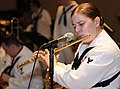 US Navy 100417-N-1675O-227 Musician 3rd Class Danielle Clark plays the flute during a U.S. 7th Fleet band concert at Mahidol University in Bangkok, Thailand.jpg