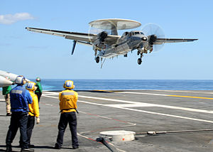 VAW-120 - Image: US Navy 100922 N 6632S 040 An E 2C Hawkeye assigned to Carrier Airborne Early Warning Squadron (VAW) 120 lands aboard the aircraft carrier USS Geor