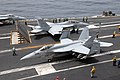 US Navy 110702-N-KF029-019 Aircraft assigned to Carrier Air Wing (CVW) 14 prepare to catapult from the aircraft carrier USS Ronald Reagan (CVN 76).jpg