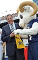 US Navy 111001-N-FC670-069 ANNAPOLIS, Md. (Oct. 1, 2011) Secretary of Defense (SECDEF) Leon Panetta is greeted by Bill the Goat.jpg